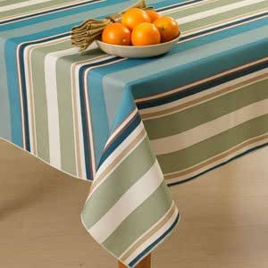 Bardwil Indoor Outdoor Zippered Umbrella Hole Oblong Tablecloth 60 X 84 - Seneca Ocean