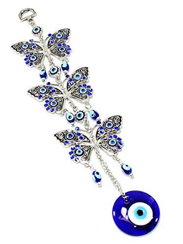 Turkish Blue Evil Eye (Nazar) 3 Butterflies Amulet Wall Hanging Home Decor Protection Blessing Housewarming Birthday Gift US Seller (Protection Home compare prices)