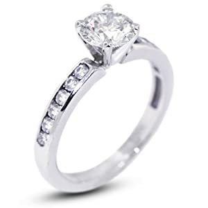 3.40 Carat Good Cut Round E-VS2 GIA Certified Diamond 14k Gold Accents Engagement Ring 3.54gr