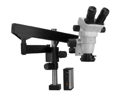 Scienscope Sz-Pk3-Led-Fx Ssz-Ii Pk3 Series Stereo Zoom Binocular Microscope With Body On Pneumatic Heavy Duty Cf Articulating Arm Stand, 10X Eyepieces, 0.5X Auxiliary Lens, Led Adjustable Ring Light Illuminator With Power Supply