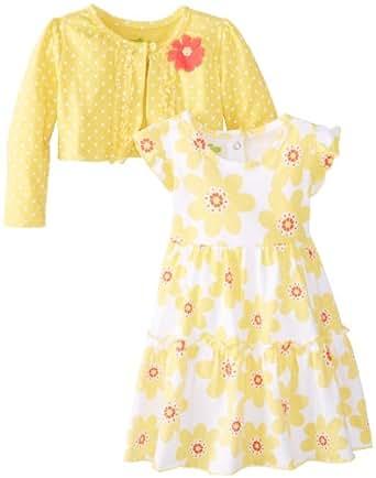Watch Me Grow! by Sesame Street Little Girls' 2 Piece Flower Print Dress Set, Yellow, 2T