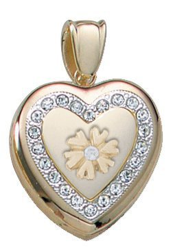 14K Yellow Gold Cremation and Hair Locket w/ Diamond Center - 3/4 inch x 3/4 in Solid 14K Yellow Gold