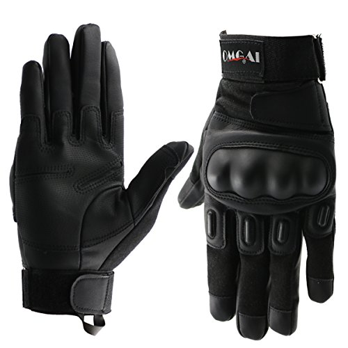 OMGAI PU Leather Motorcycle Tactical Gloves Full Finger Outdoor Sports Gloves Black,M