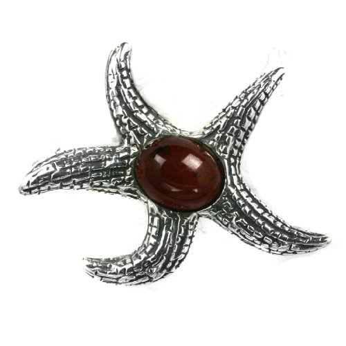 Baltic Cherry Amber Sterling Silver Little Museum Collection Star Fish Pin 19th Century