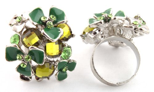 Ladies Silver with Green Multi Flowered & Multifaceted Stones Style Metal Adjustable Finger Ring