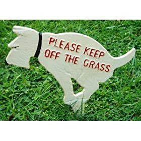 Keep Off the Grass Rustic Cast Iron Dog Yard Sign Stake