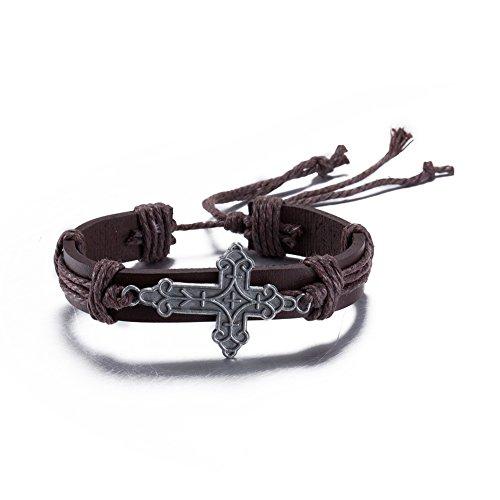 Gioielli etnici donne di fascino retrš° braccialetto di disegno trasversale gotico signora braccialetto in pelle intrecciata 2016