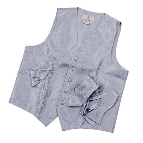 VS1006 Grey Pattern Vest Mens Gifts Idea Tie Cufflinks Hanky Bowtie By Y&G