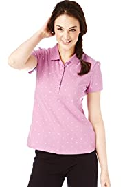 Pure Cotton Spot Print Piqué Polo Shirt