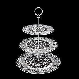 Studio Silversmiths Glass Lace White 3 Tier Tray by Studio Silversmiths