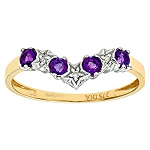 Naava 9ct Yellow Gold Amethyst And Diamond Wishbone Ring