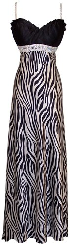 Zebra Satin Beaded Formal Gown Prom Dress