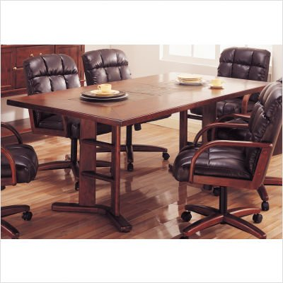 Hillsdale Frankfort Slate Top Casual Dining Table in Medium Brown Finish