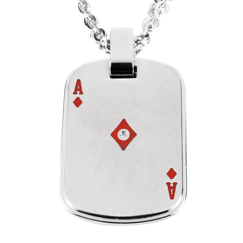 Men's Stainless Steel Ace of Diamonds Dog Tag with Cubic Zirconia Pendant Necklace, 20