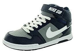 Nike Kids Mogan Mid 2 Jr B Cool Grey/White/Obsidian Skate Shoe 7 Kids US