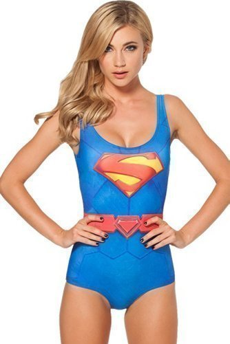Ladies Sexy Superman Supergirl Superhero Swimming Costume Swimsuit One Piece UK Sizes 8 to 10, or 16 to 18.