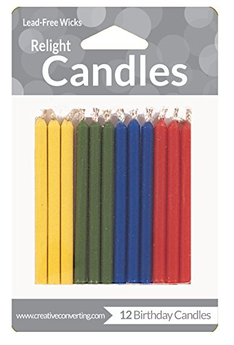 Creative Converting 12 Count Magic Relight Birthday Cake Candles, Assorted Solids, Assorted