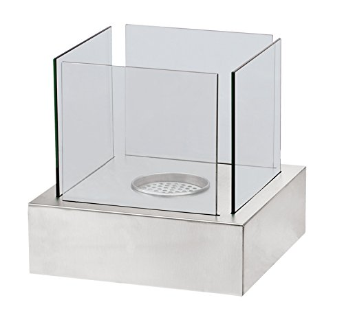 Crystal Venza Ventless Tabletop Ethanol Alcohol Fireplace Feature. Stunning Design Great for Indoor & Outdoor Use. Brushed Stainless Steel with Tempered Safety Glass.