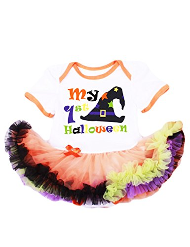 LaLaMa Baby Girl's Costume My First Halloween Onesie Tutu Dress Outfit ()