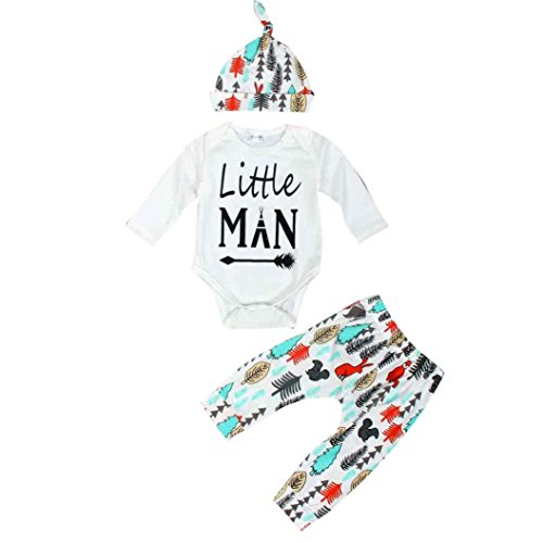 FEITONG Newborn Infant Baby Boy's Long Sleeve Tops +Long Pants +Hat (12-18 Months)