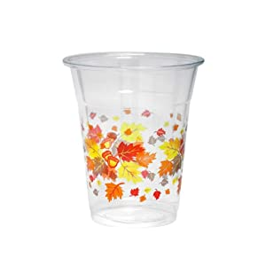 Party Essentials N122066 Partyware Soft Plastic Cup, 12-Ounce Capacity, Autumn Leaves Printing (Case of 500)