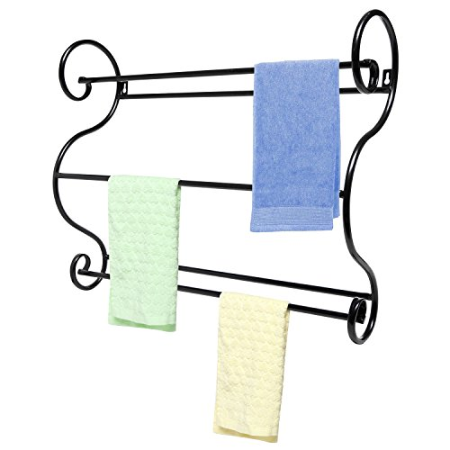 Wall Mounted Scrollwork Design Black Metal Bath Room / Kitchen Towel Bars Drying Storage Hanger Rack front-531445