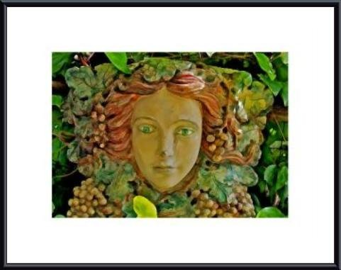 Wine Goddess Art Print in Black Metal Frame