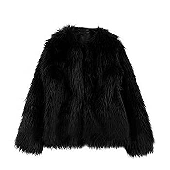 Funoc New Women Warm Faux Fur fleece Coat Winter Vintage Parka Jacket Collar