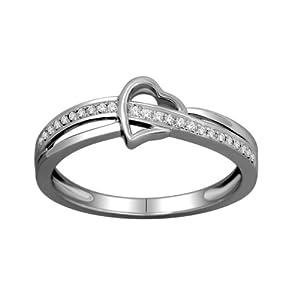 0.10 ct Diamond Heart Split Shank Promise Ring 10k White Gold