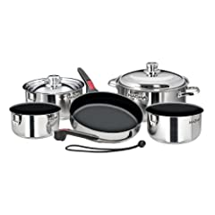 Magma 10 Piece Gourmet Nesting Stainless Steel Cookware Set with Non-Stick by Magma