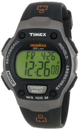 """Timex Men'S T53151 """"Ironman"""" Traditional 30-Lap Memory Recall Black And Gray Resin Watch front-916978"""