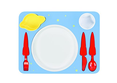 """Space"" Melamine Kids Dinner 7-piece Set, Plate, Cup, Utensils, Bowl on a Tray"