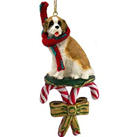 Saint Bernard Dog Candy Cane Christmas Holiday Ornament