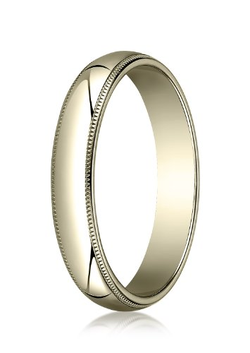 18K Yellow Gold, 4.0mm Traditional Dome Oval Ring with Milgrain (sz 13)