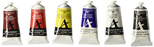 Grumbacher Academy Acrylic Paint, 90ml/3 oz Metal Tube, 6-Color Mixing Set (C1026) (Acrylic Color Mixing Set compare prices)