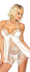 Lady Heart Womens Satin White Self Design Babydoll Teddies Lingerie 6195W