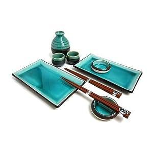 japanese blue sushi plate set and sake set for two sushi gift set accent plates. Black Bedroom Furniture Sets. Home Design Ideas
