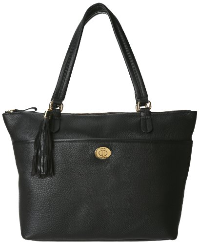 Tommy Hilfiger Turnlock Tassel Pebble Tote,Black,One Size