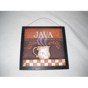 Java Mug Coffee Kitchen Wooden Wall Art Sign Cafe Decor