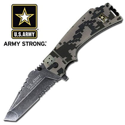 U.S. ARMY A-A1021CS Closed Spring Assisted Folder Knife, 4.75-Inch