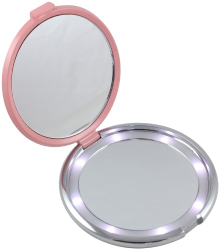 Floxite Fl-360-P 10X Led Lighted Compact With Crystals And Dfp Quality Glass, Pink