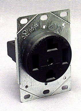 Cooper Wiring Devices 1257-Sp 3-Pole, 4-Wire 30-Amp 125/250-Volts Flush Mount Dryer Power Receptacle, Black front-391891