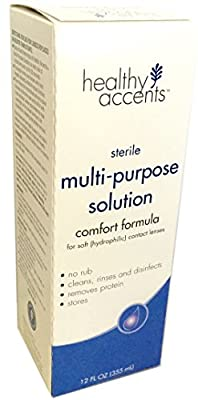 Healthy Accents Sterile Multi-Purpose Contact Solution, Comfort Formula, 12 oz, Pack of 3