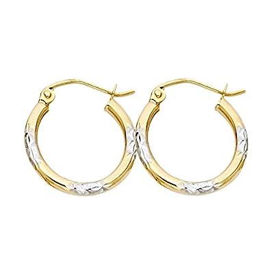 Wellingsale® Ladies 14k Two Tone White and Yellow Gold Diamond Cut Polished 2mm Hoop Earrings (17mm Diameter)