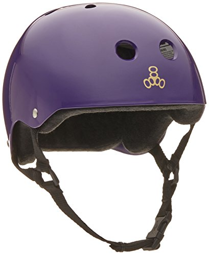 Triple 8 Brainsaver Glossy Helmet with Sweatsaver Liner (Purple Glossy, Medium)