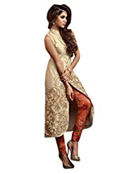 Stylish Fashion Gorgeous Cream Self Embroiderd Long Straight Suit With Exclusive Printed And Plain Bottom