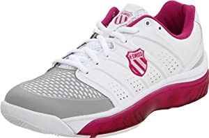 K-Swiss Women's Tubes White/Magenta/Gull Grey Tennis Shoe 92742-187-M 5 UK