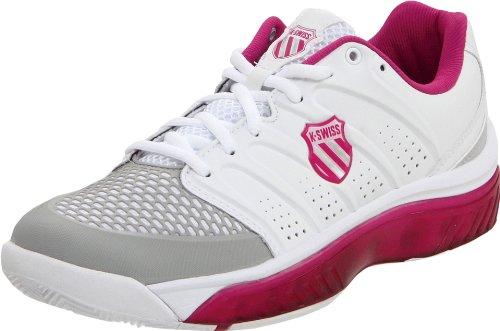 K-Swiss Women's Tubes White/Magenta/Gull Grey Tennis Shoe 92742-187-M 5.5 UK