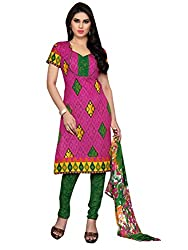Jinal Fashion women's Cotton Unsitched dress material (Pink_color)