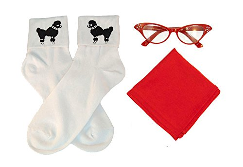 Hip Hop 50S Shop Adult 3 Piece Accessories - Adult Size Red Glasses, Socks And Scarf